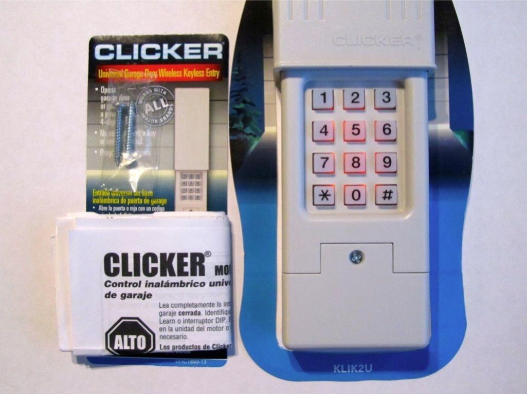 Clicker garage door opener keypad universal remote klik2u