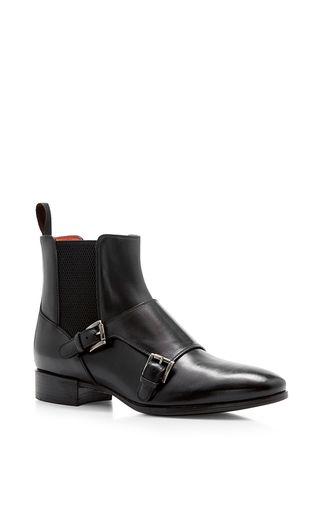 18e6b5391808b4 Medium santoni black double monk ankle boot