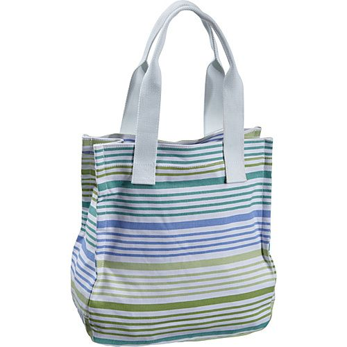 Earth Axxessories Striped Canvas Tote Green-Blue - Earth Axxessories Fabric Handbags