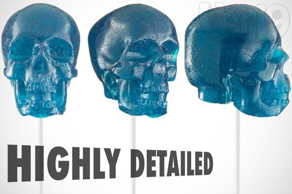 Giant Gummy Skull on a Stick viewed from multiple angles.