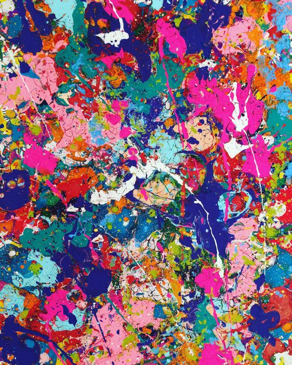 Expressionist Art Abstract Painting Splatter Xl Art By