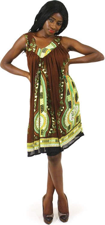 Traditional Short African Sundress in Brown