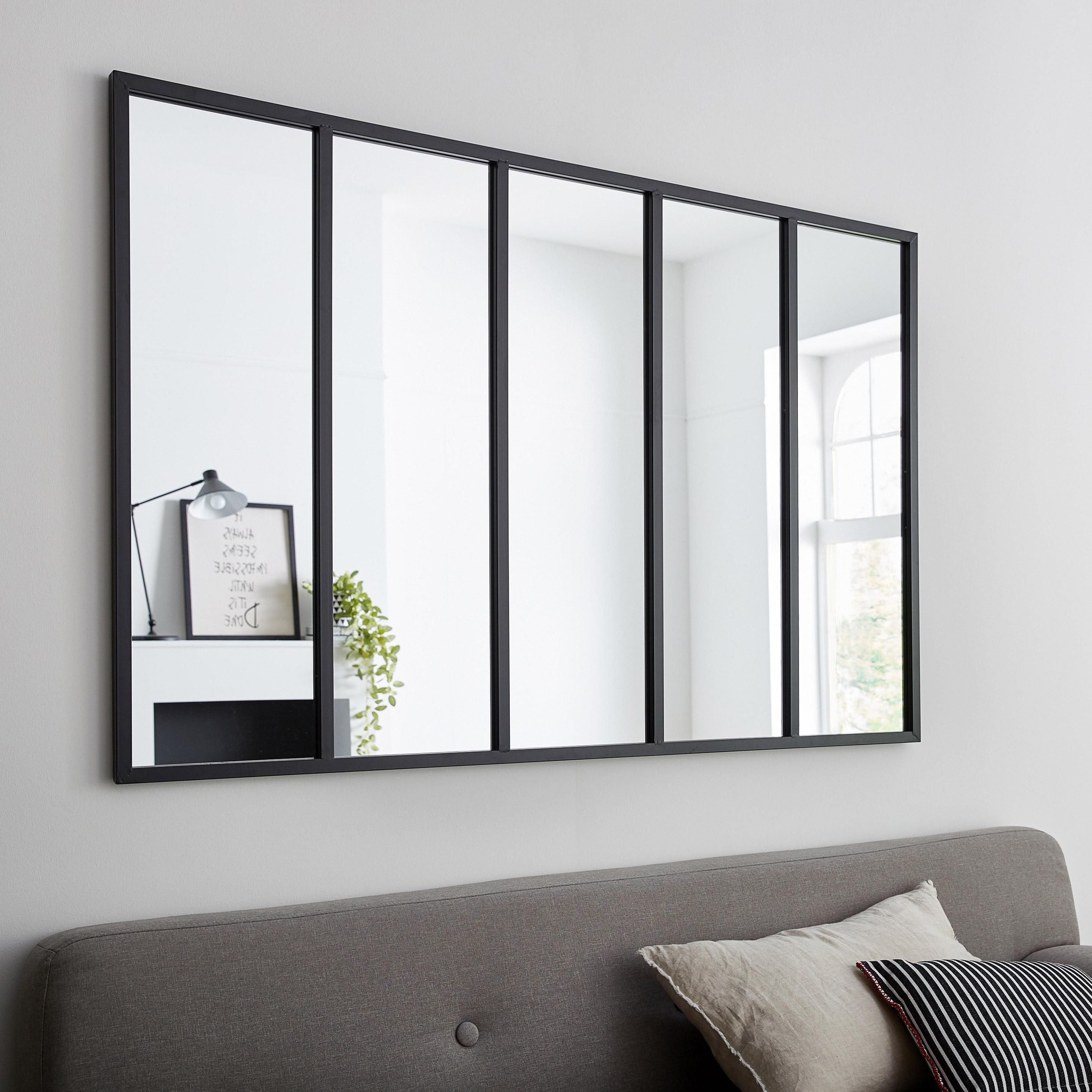 Miroir Rectangulaire Atelier Jardin Noir L 140 X H 90 Cm Leroy
