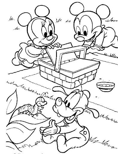 Fun Coloring Pages Picnic Baby Disney Free Coloring Pages Minnie Mouse Coloring Pages Mickey Mouse Coloring Pages Disney Coloring Pages
