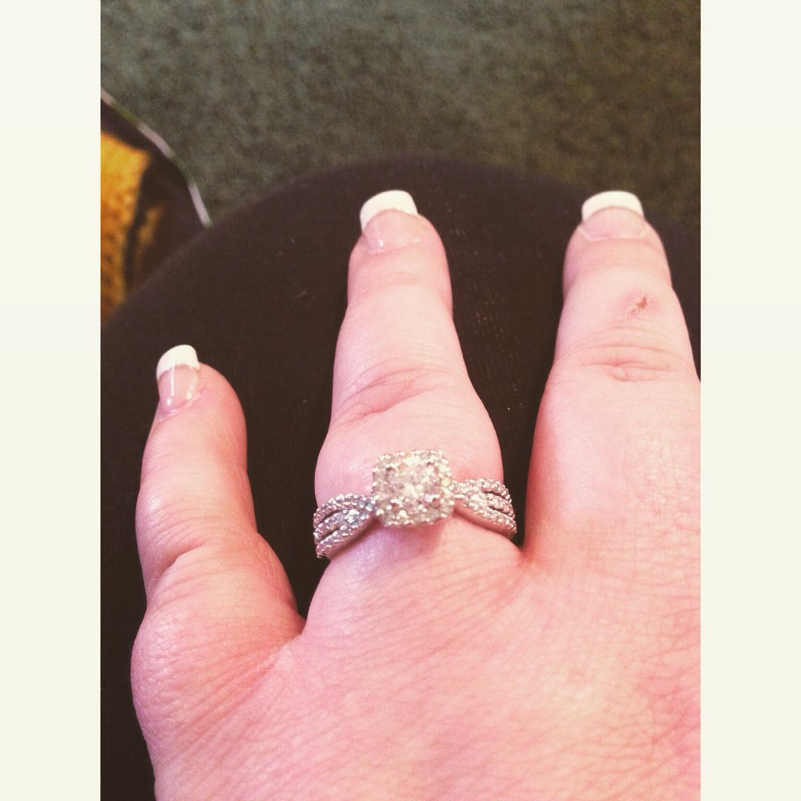 Square halo with round 1/2 karat diamond ring! I can finally start ...