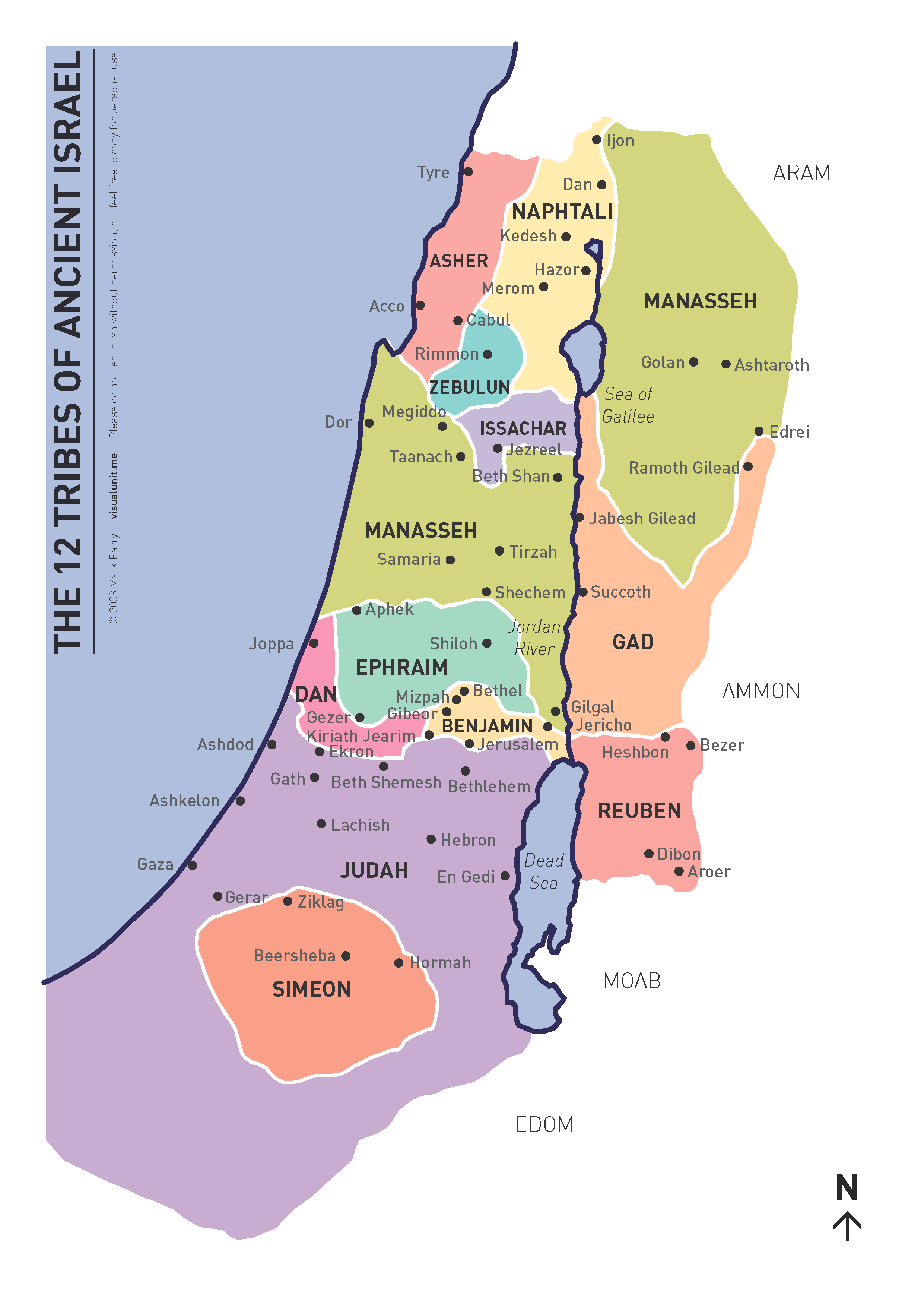 Map Of Ancient Israel Tribes A map showing the land allotted to each of the twelve tribes of