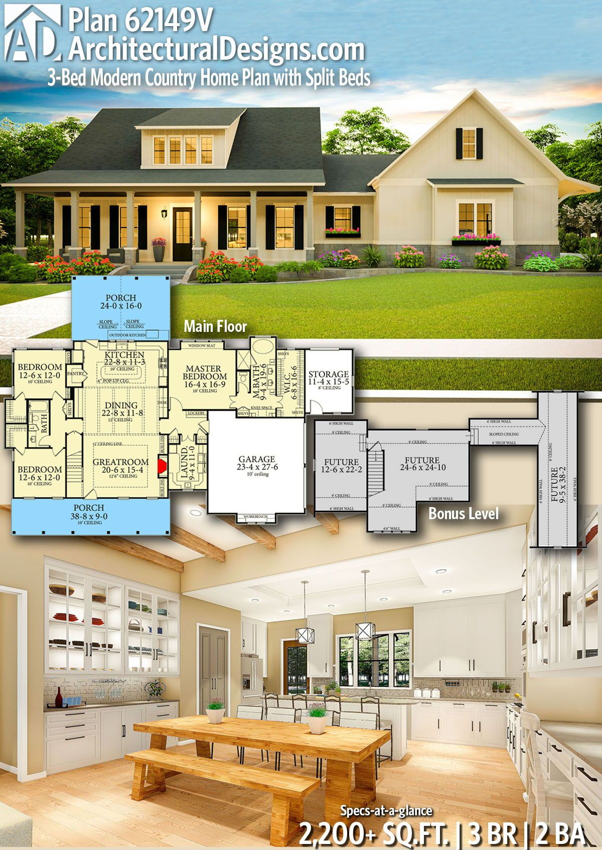 Plan 62149v 3 Bed Modern Country Home Plan With Split Beds Country House Plans House Plans Dream House Plans