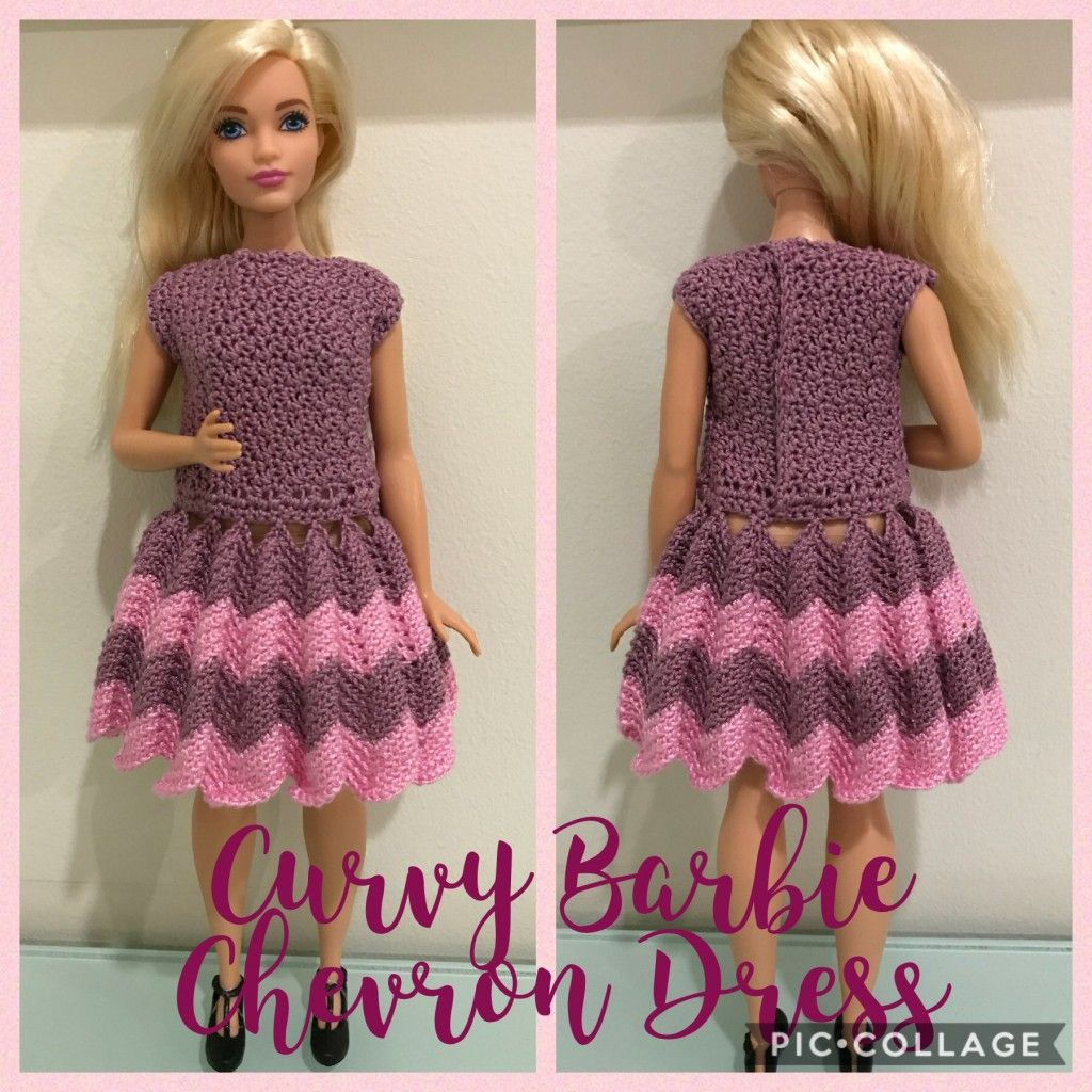 This is a free crochet pattern for a Curvy Barbie Chevron Dress ...