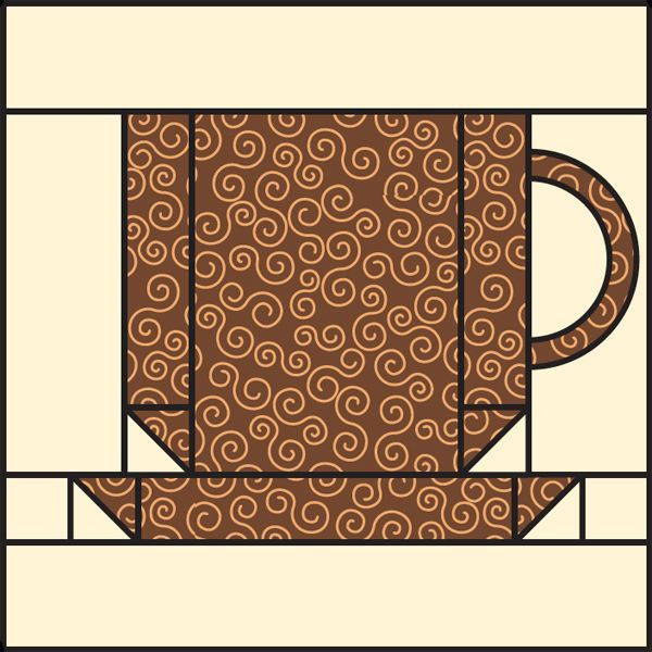 Freebie Warm Up With A Coffee Cup Quilt Block Pattern