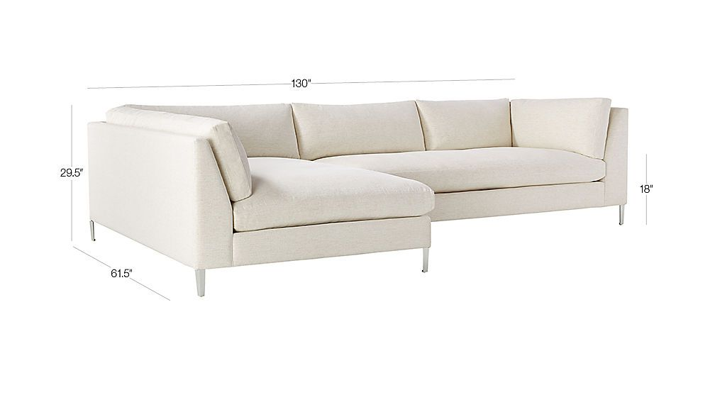 Decker 2 Piece Snow Sectional Sofa Reviews Cb2 In 2020