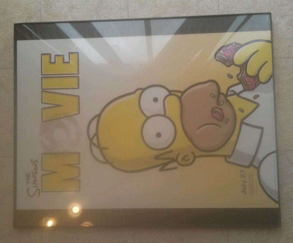 The Simpsons Movie Poster 13 5 X20 Homer With Donut Opening Night July 27th The Simpsons Movie The Simpsons Movie Posters