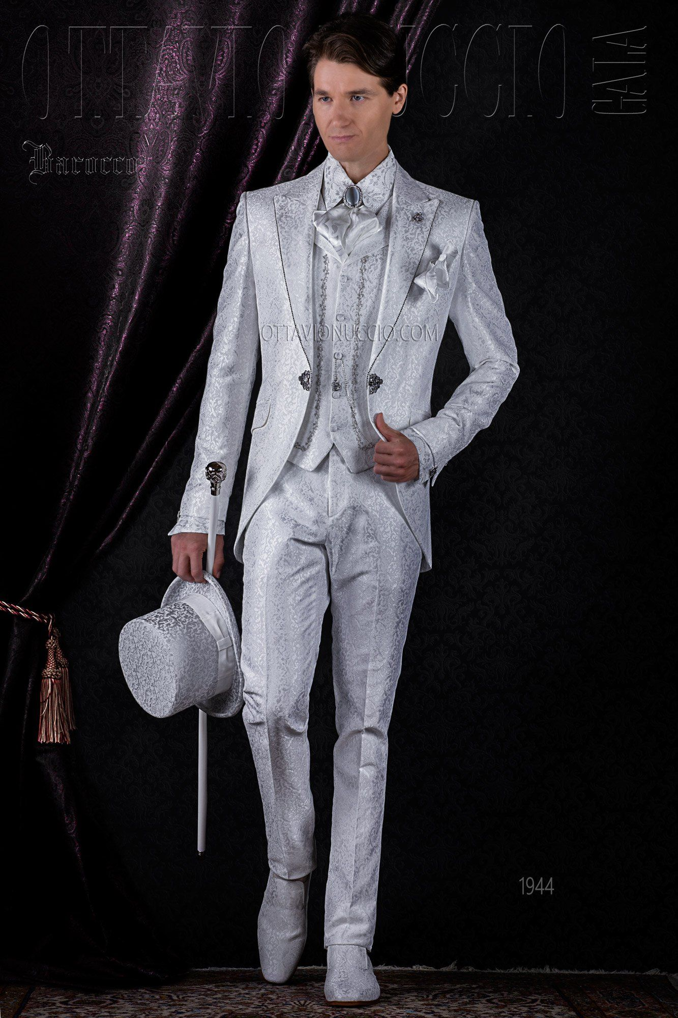 Brocade white peak lapel vintage groom suit #vintage #wedding ...
