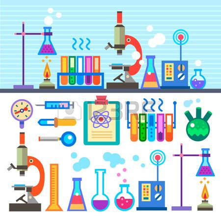 Cartoon Science Equipment Chemical Laboratory In Flat Style