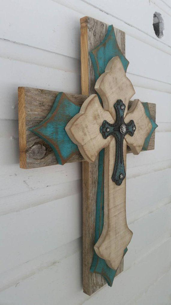 Unique Turquoise Rustic Cedar Pallet Wood Home Decor Distressed Reclaimed Repurposed Wood Cross Great Gift Wood Home Decor Crosses Decor Wood Wall Cross
