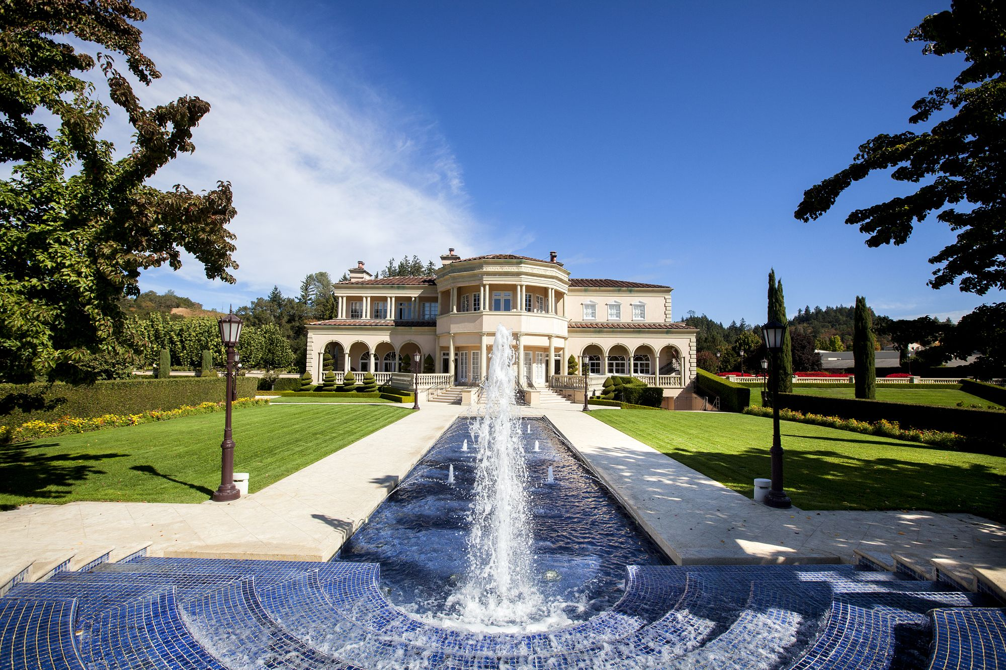 The back fountain at Ferrari,Carano Vineyards and Winery