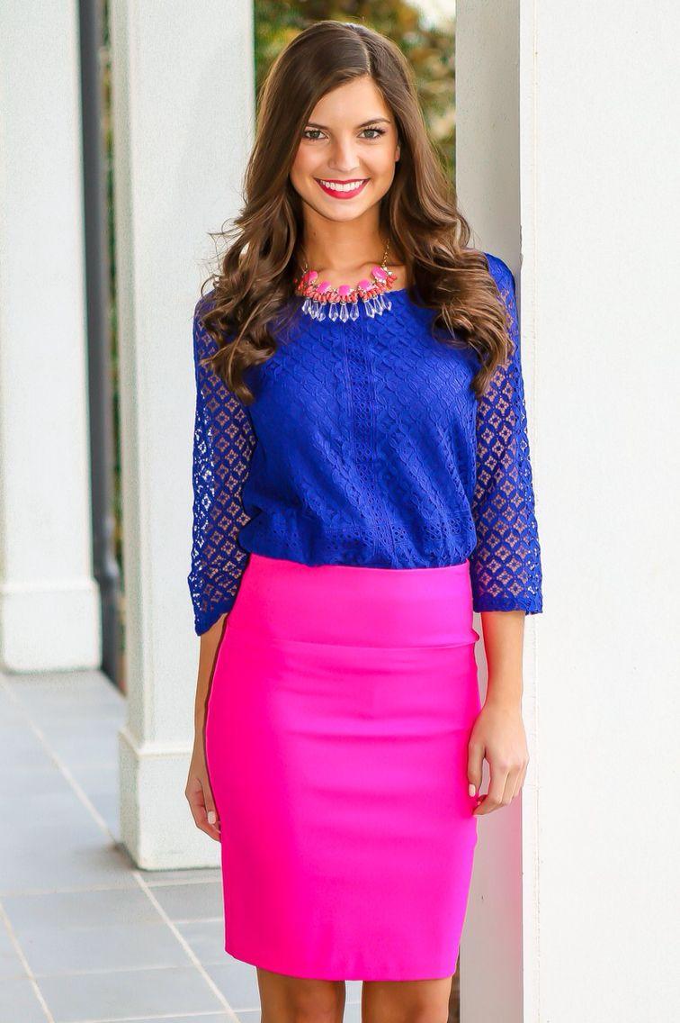336160ff4b7828 Blue blouse + hot pink skirt!
