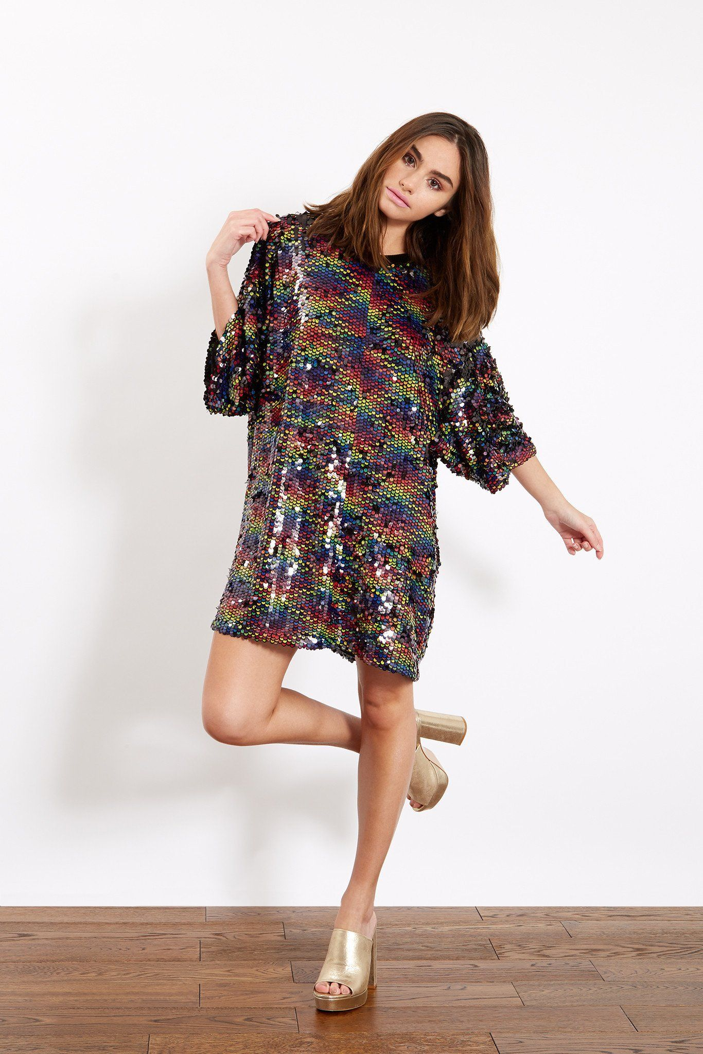 99dcdc77eae6 Rainbow Sequin Oversized T-Shirt Dress | Sequins | Oversized shirt ...