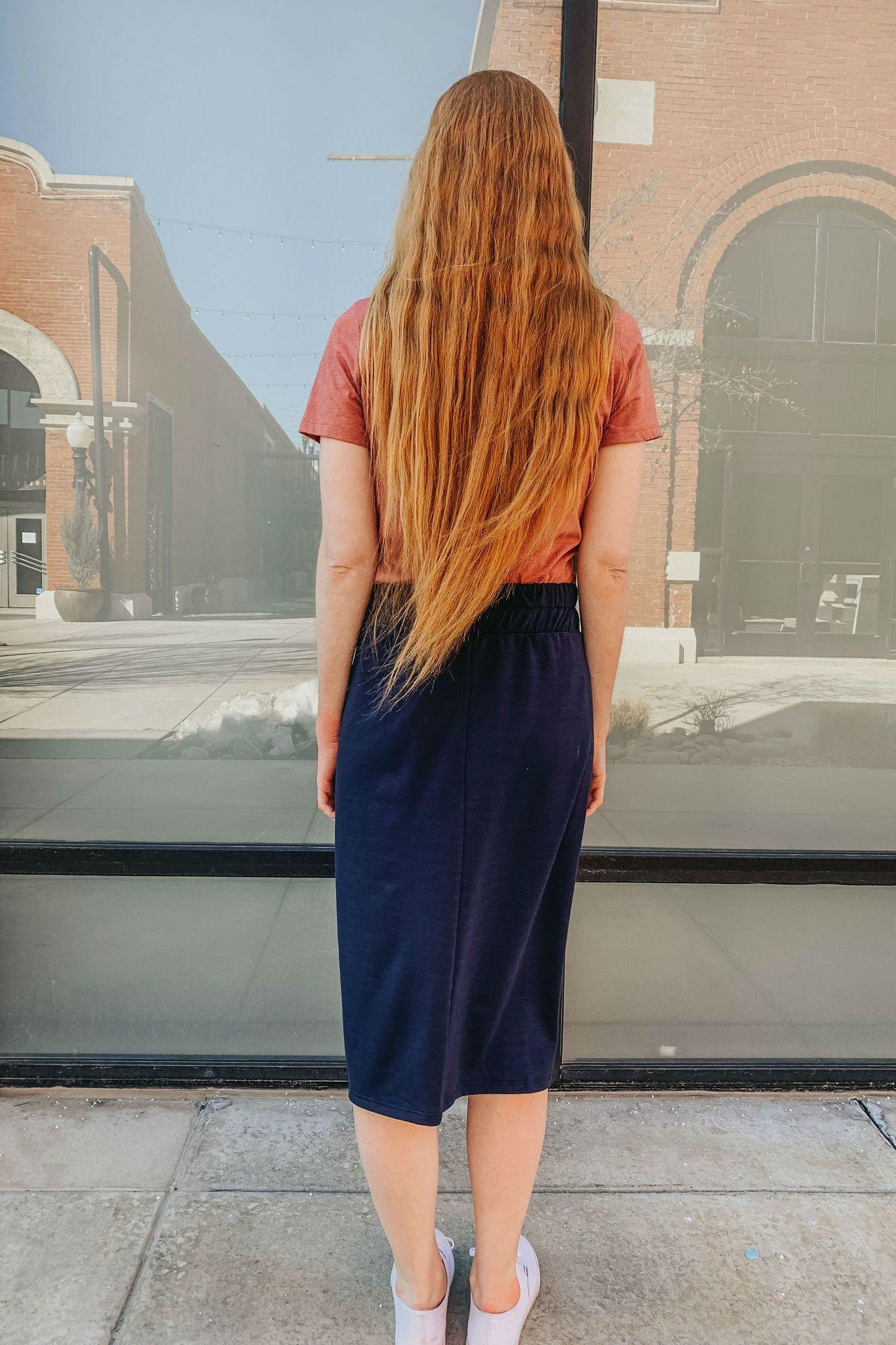 41dcf7d8515 Chloe Jersey Skirt in Navy – CLEO MADISON