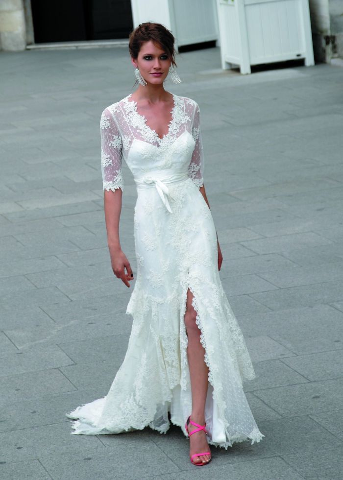 Wedding dresses for the bride over 40 simple weddings for Simple dress for civil wedding