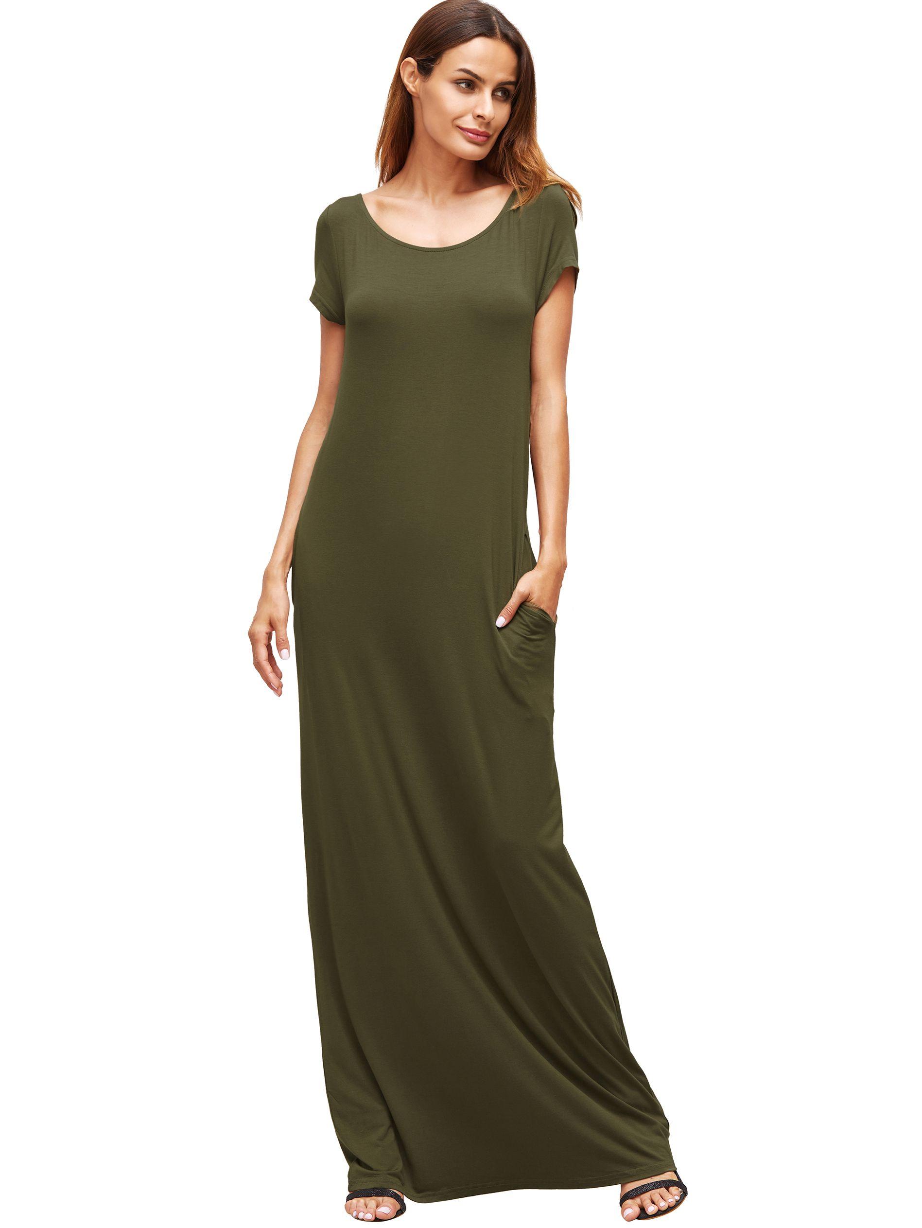 Army Green Pocket Short Sleeve Maxi Dress Moda [ 2526 x 1897 Pixel ]