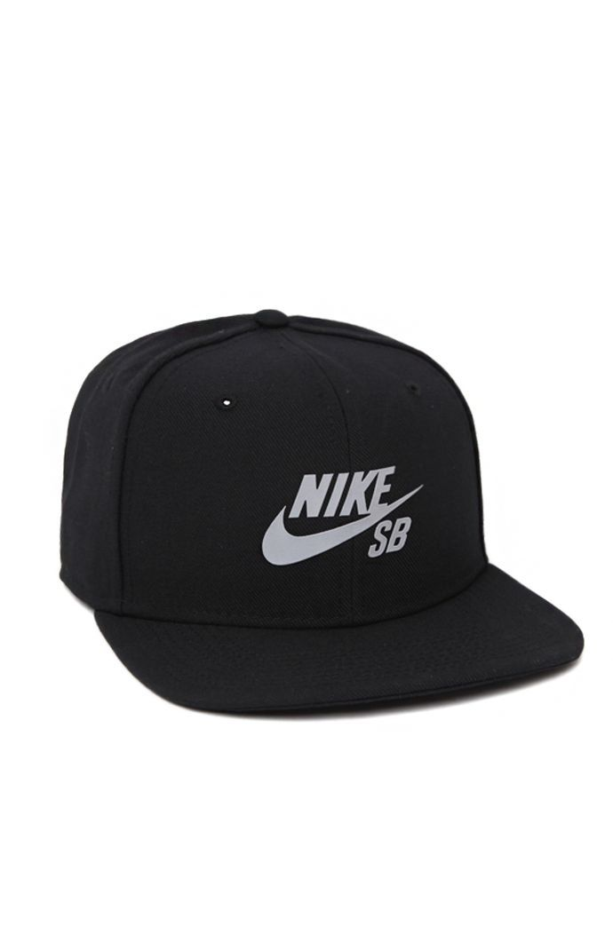 Nike SB creates a unique men s snapback hat found at PacSun. The Reflective  Icon Snapback Hat for men has a solid look with a reflective Nike SB logo  on the ... 6502a50a459