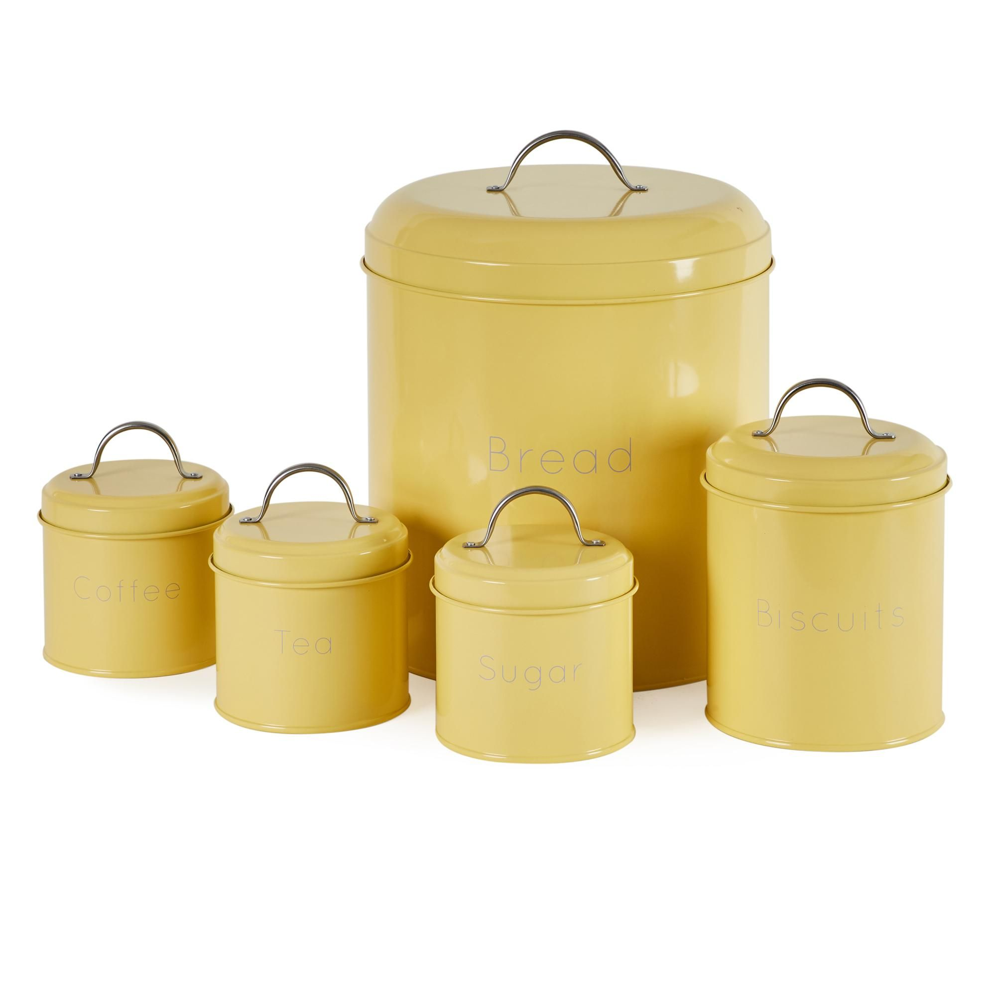 5 Piece Yellow Kitchen Canister Set In 2020 Canister Sets