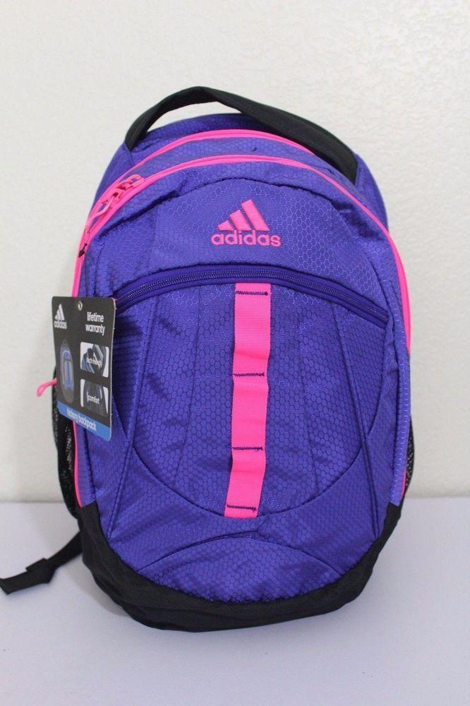 nwt adidas hickory donne lo zaino rosa viola borsa di scuola dello sport.