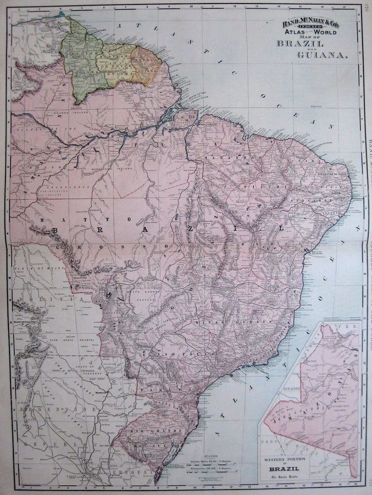 1892 Antique BRAZIL Map GUIANA Map Uncommon RARE Poster SIZE South ...
