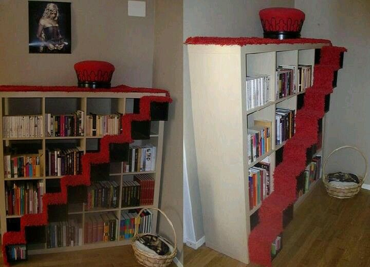 Cat stairs on bookcase. #cats #CatStairs
