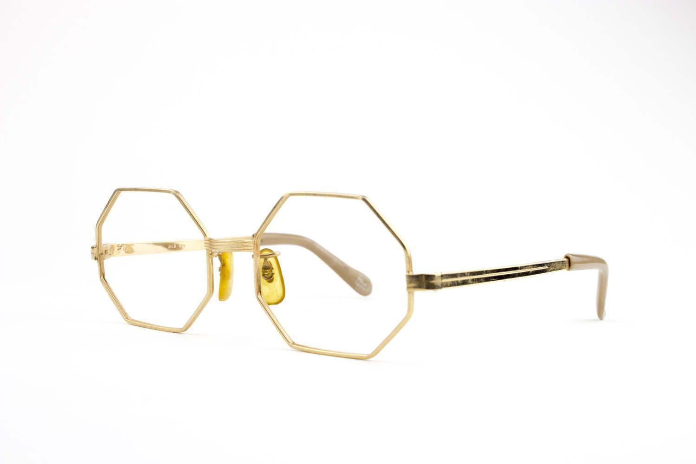 70s Vintage Eyeglass Frame   Gold Octagonal Glasses   NOS 1970s ...