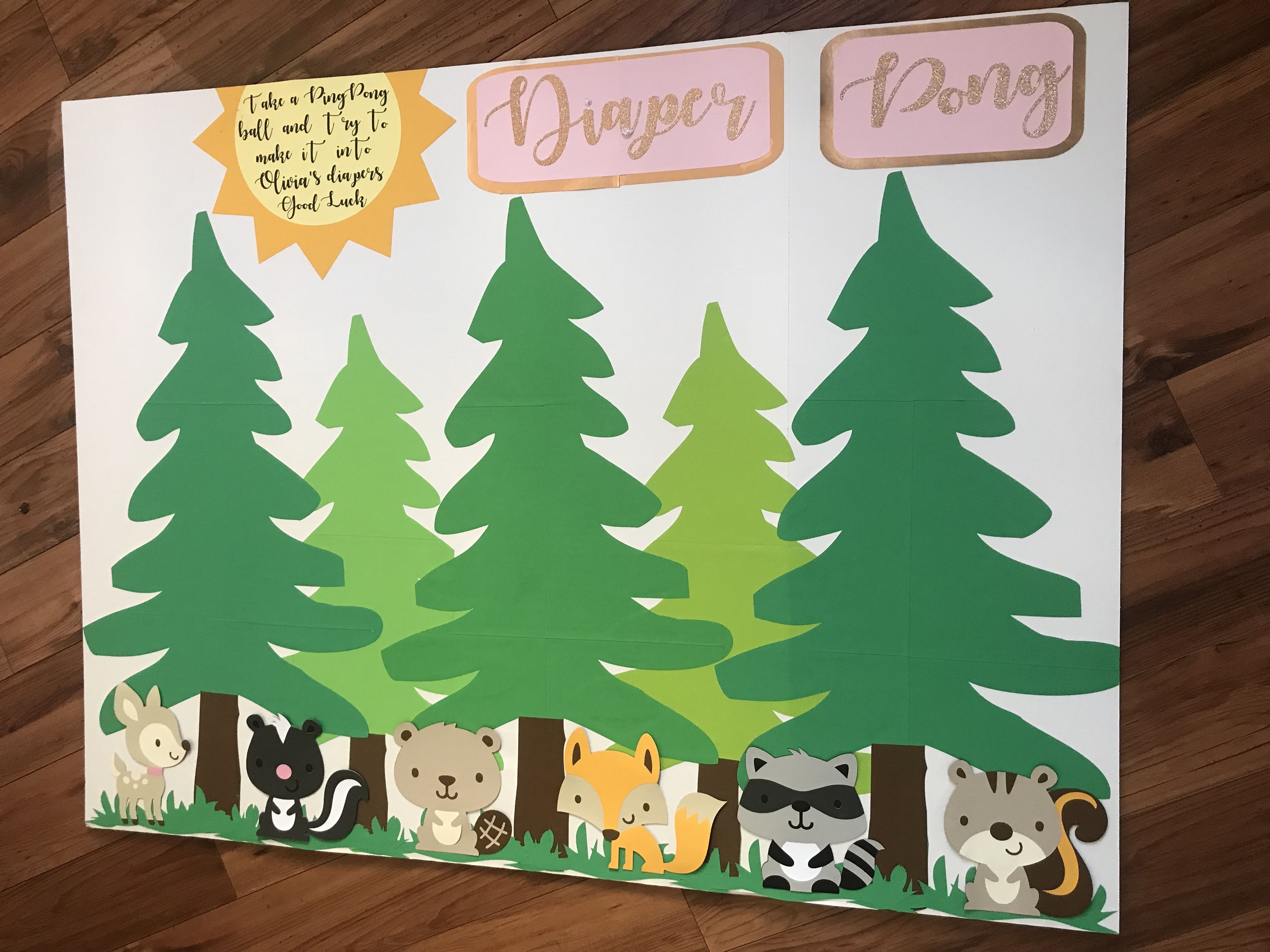 Diaper pong board woodland theme baby shower baby shower