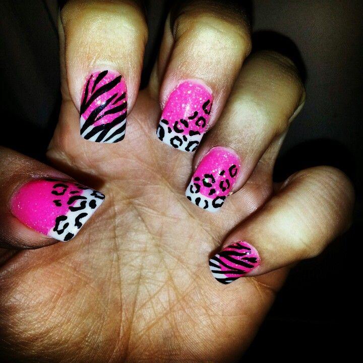 Zebra Nail Ideas: My Barbie Cheetah/Leopard/Zebra Nails :) #nailart #nails