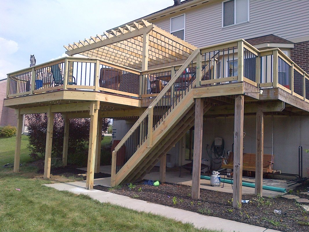 Two story deck google search shu house pinterest for Patio plans and designs