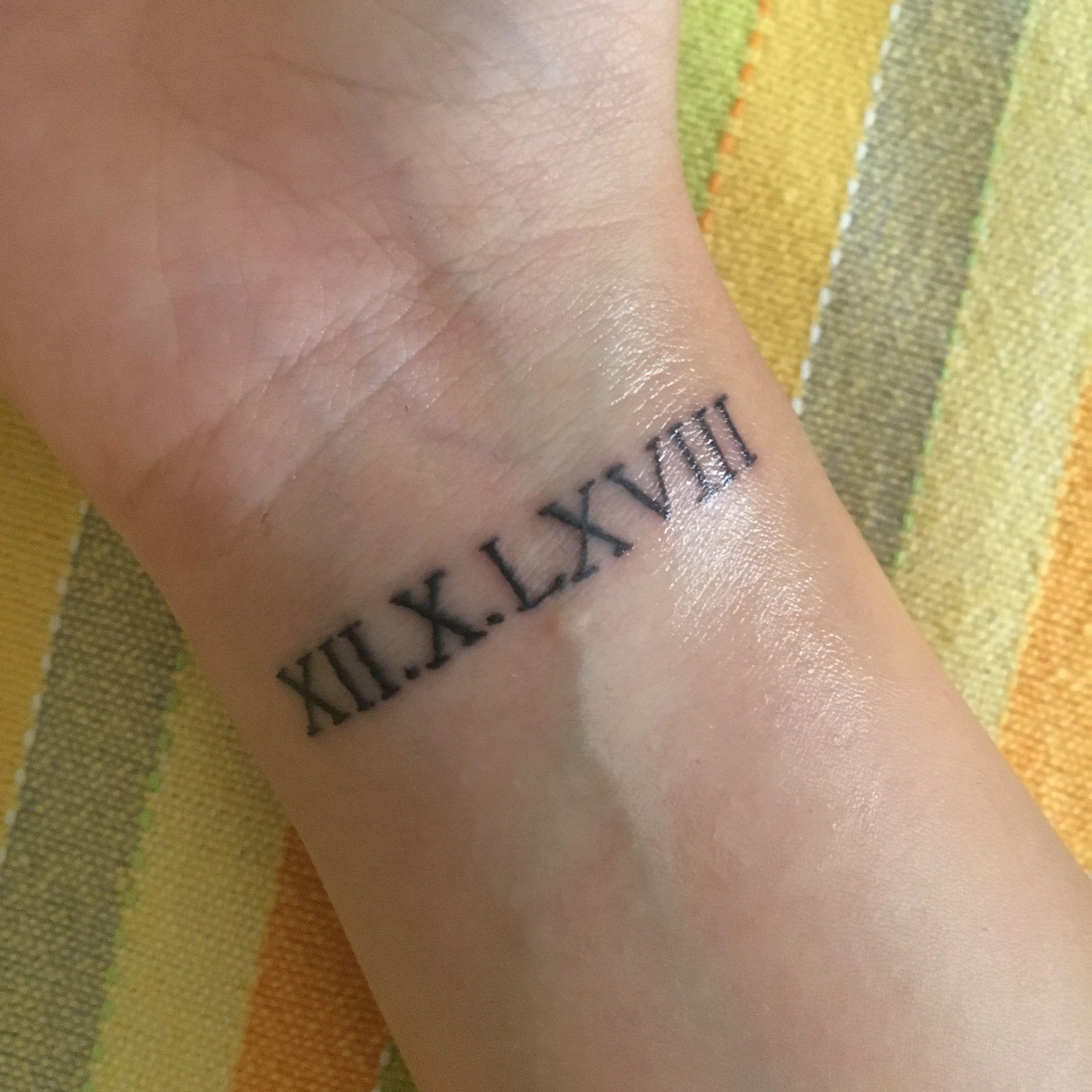 c6dfa2643 Roman numeral tattoo wrist | Tattoo ideas | Roman numeral tattoos ...