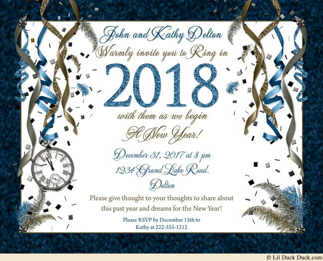 blue golden new years eve invitations