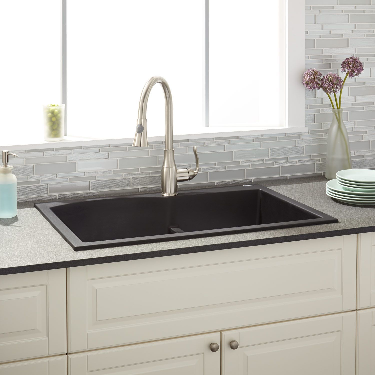 33 walland 60 40 double bowl drop in granite composite sink black rh pinterest com