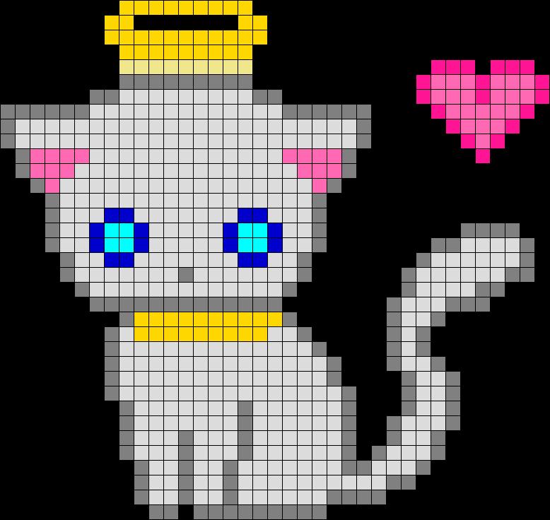 Diy This Cute Kawaii Angel Kitten Perler Hama Beads Pattern