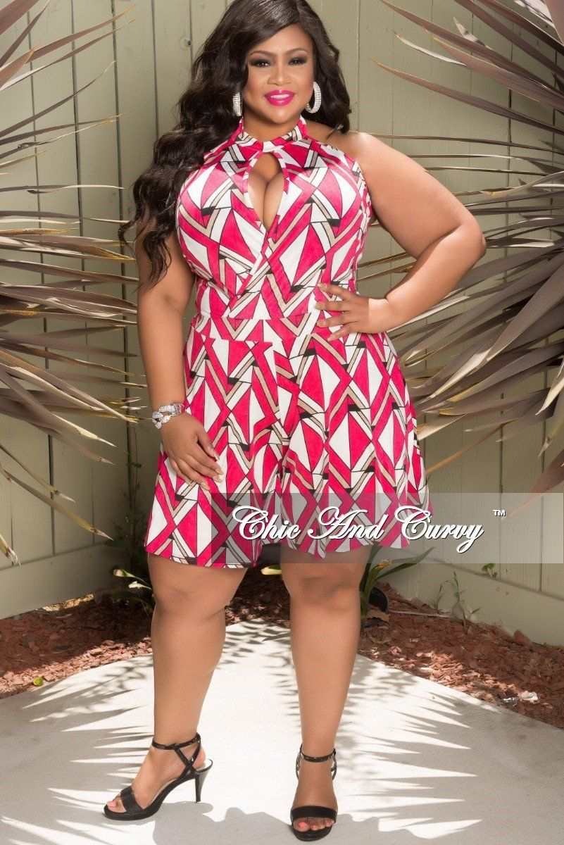 9af1413d311 Plus Size Halter Faux Wrap Romper in Hot Pink – Chic And Curvy