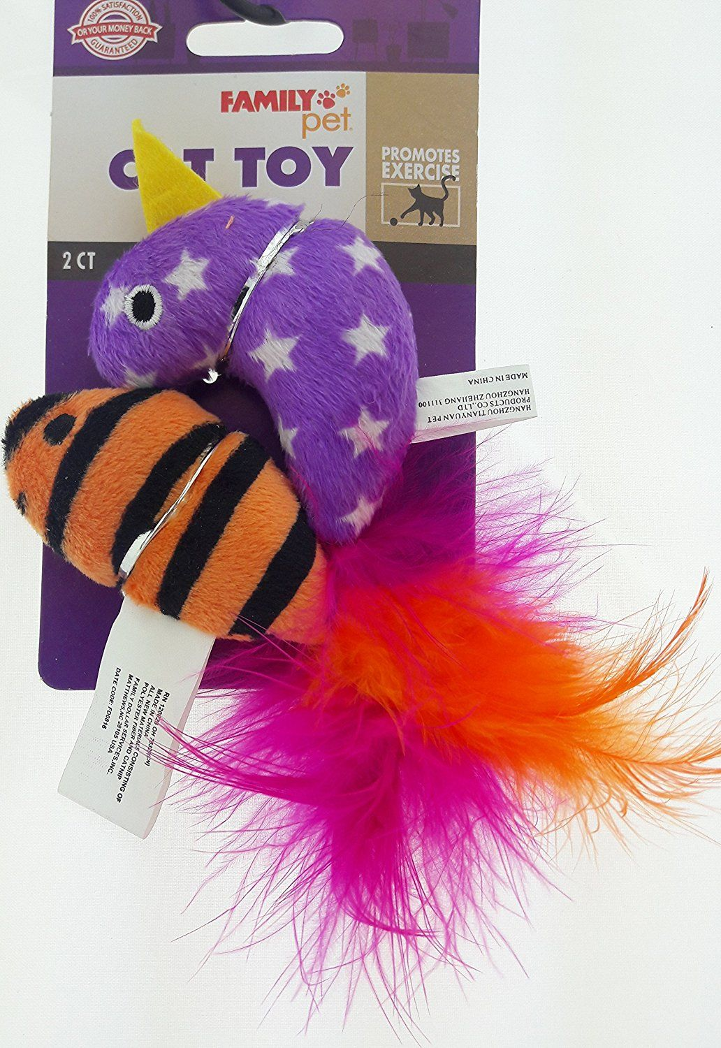 Set of Two Feathered Cat Toys Bird and Fish Assorted