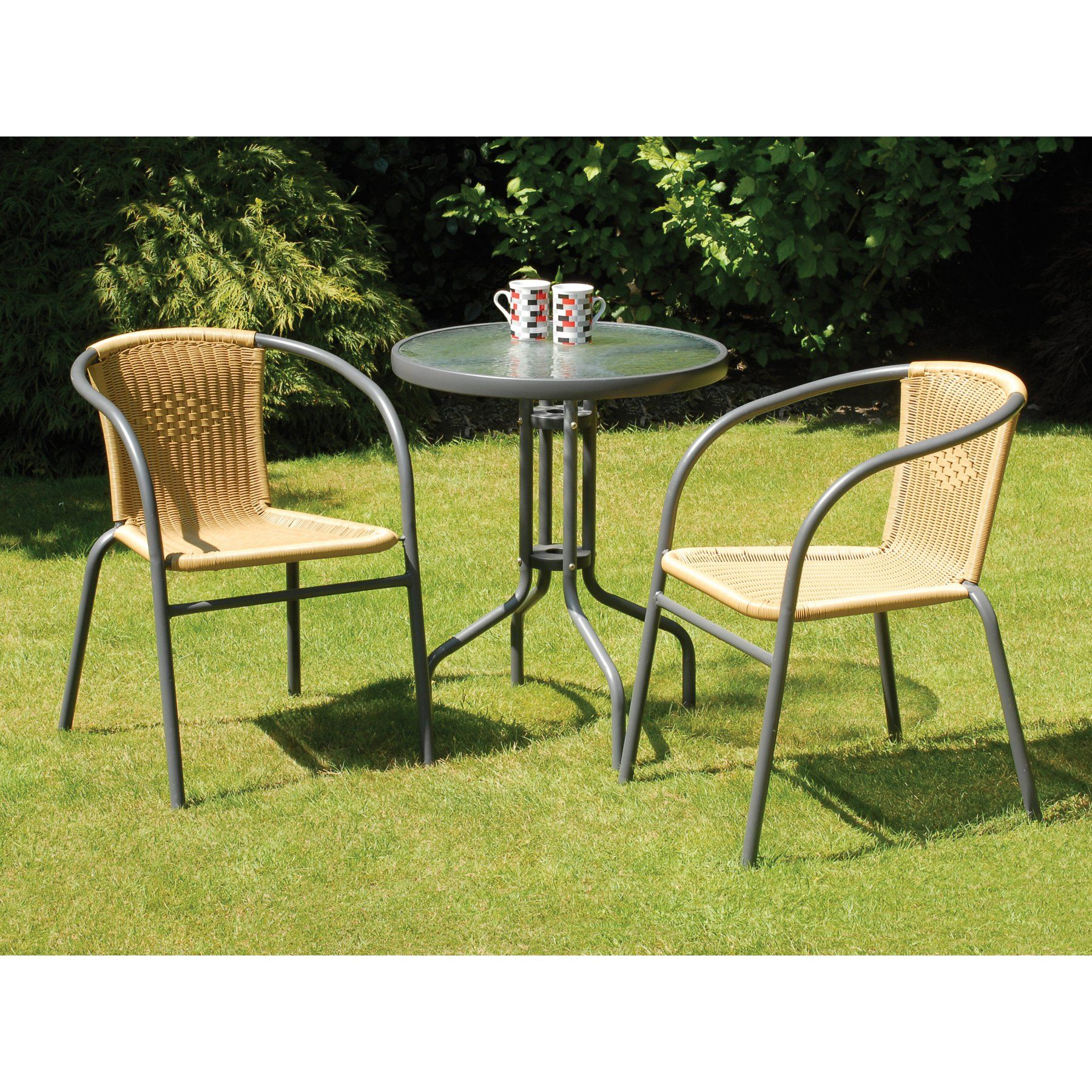 Transcontinental Outdoor Bambi Rattan and Steel Patio Bistro Set