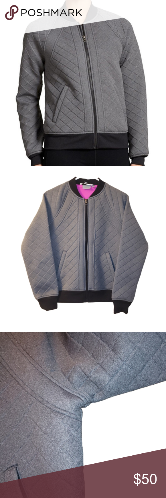 Athleta Gray Quilted Infusion Bomber Jacket In 2020 Clothes Design Bomber Jacket Jackets [ 1740 x 580 Pixel ]