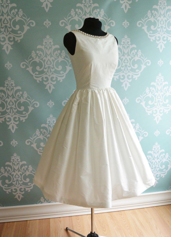Wedding dress with bow on back  Open Back Tea Length Wedding Dress PROMENADE White Ivory