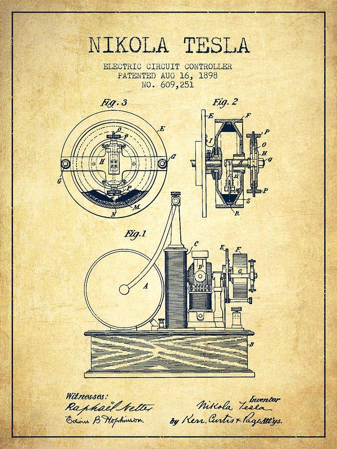 Nikola Tesla Electric Circuit Controller Patent Drawing