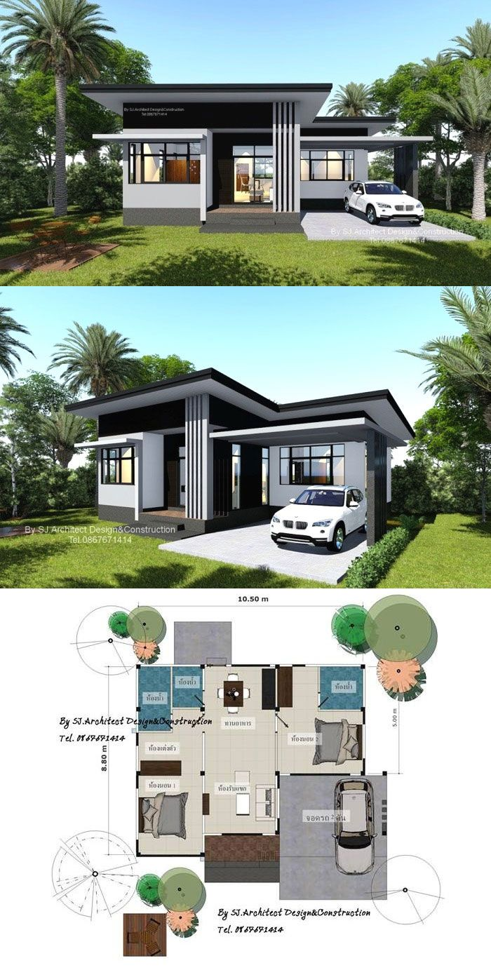 Compact Two Bedroom Bungalow Bungalow House Design Modern Bungalow House Design House Construction Plan