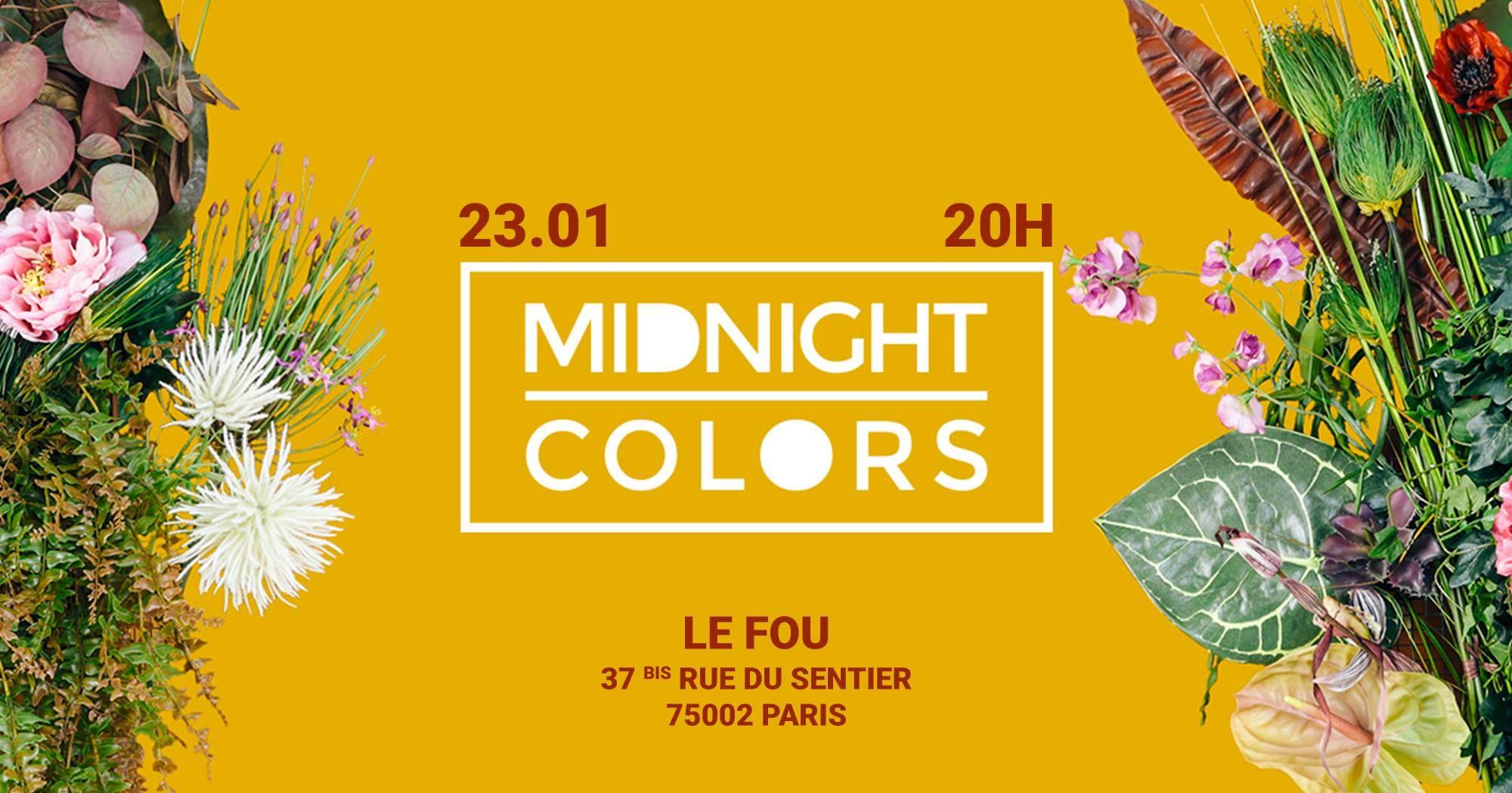 Paris Food & Drink Events: Midnight Colors au Fou January 23 @ 20:00 - 22:30