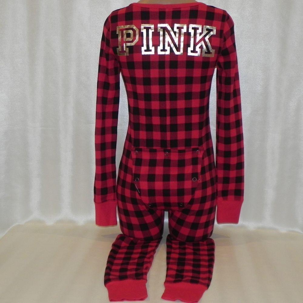 Victorias Secret Pajamas PINK One Piece Onesie s logo Red black Plaid