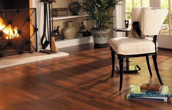 Dark Cherry Laminate Flooring In Fireplace Room Laminate Floor