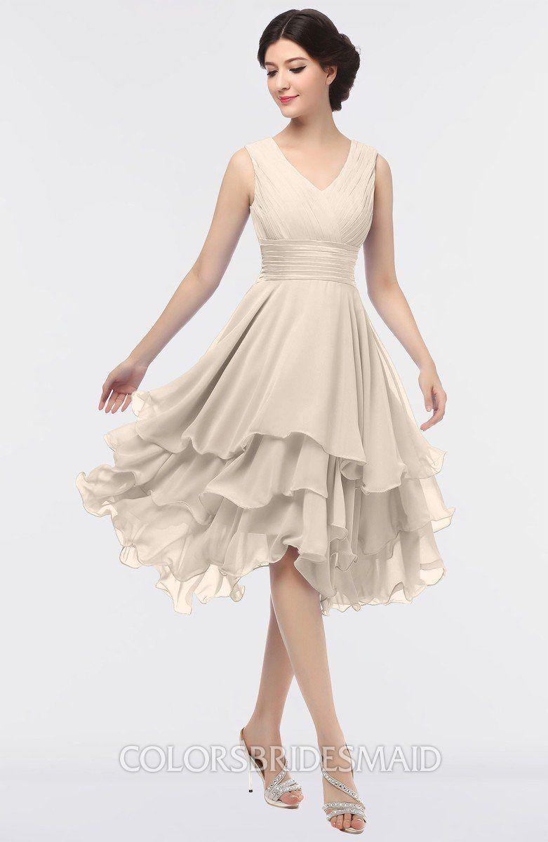 Pastel rose tan colorsbridesmaid offers elegant vneck