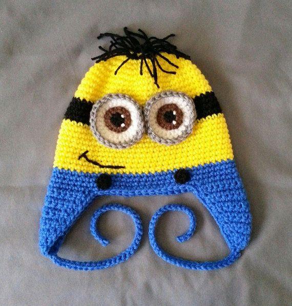 Crocheted Minion Despicable Me Kevin Bob Stuart Hat Yellow Monster ... 9790e9795fc