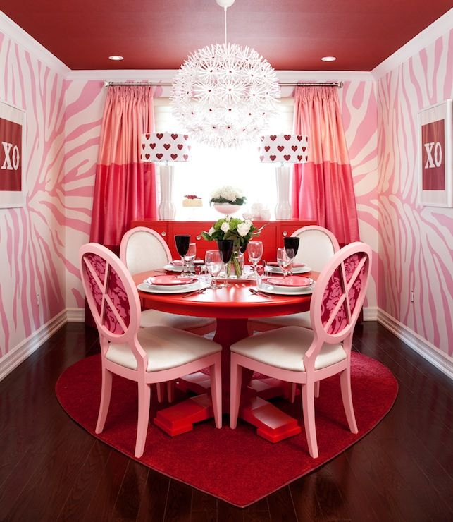 jennifer brouwer design - dining rooms - red ceiling, recessed